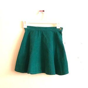 American Apparel Teal Corduroy Skirt